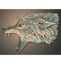 Patterned head of the wolf Tribal ethnic totem vector