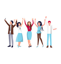 people raising their hands on vector image