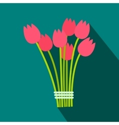 Pink tulips bouquet flat icon vector image