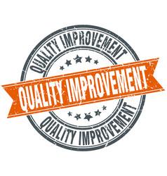Quality improvement round grunge ribbon stamp vector