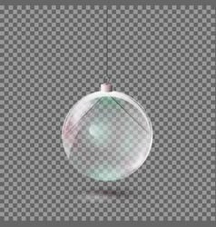 Realistic transparent glass christmas ball vector