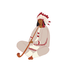 Red indian girl smokes a long pipe vector