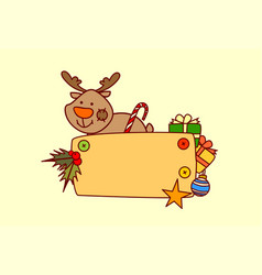 reindeer hold empty banner merry christmas and vector image
