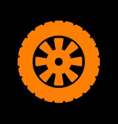 Road tire sign orange icon on black background vector