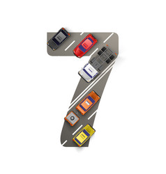 Road with cars in the form of number seven vector
