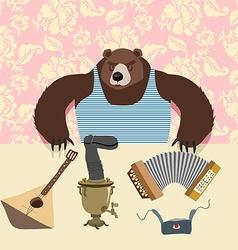 Russian bear with balalaika samovar cartoon animal vector