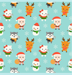 santa and animal christmas seamless pattern theme vector image