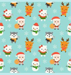 santa and animal christmas seamless pattern theme vector image