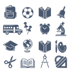 School symbols black icons set of school vector