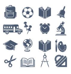 school symbols black icons set of vector image