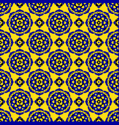 seamless pattern - blue black yellow bloom tiles vector image