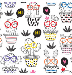 Seamless pattern coloring with cheerful cactus vector