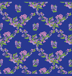 Seamless pattern with flowers on blue backdrop vector