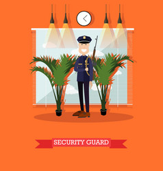 Security guard in flat style vector
