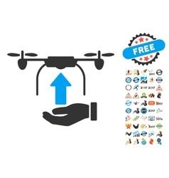 Send Drone Hand Icon With 2017 Year Bonus Symbols vector image