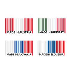 Set four bar code symbols made in austria made vector