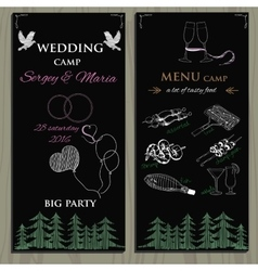 Set of chalk board invitation for wedding in the vector