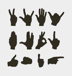 set of hands showing different gestures vector image