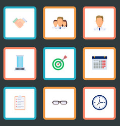 set of job icons flat style symbols with schedule vector image