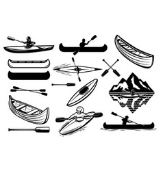 Set of the kayaking sport icons canoe boats vector