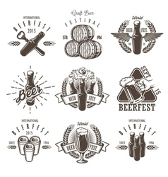 Set of vintage beer festival emblems vector