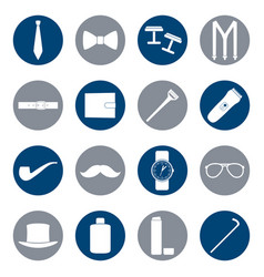 Set of white icons of man accessories vector