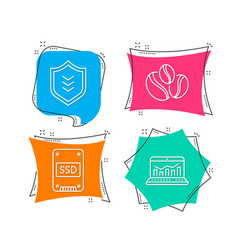 Shield coffee-berry beans and ssd icons web vector