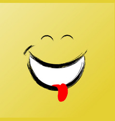 smile funny brush graphic smile icon vector image