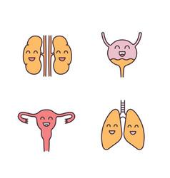 Smiling human internal organs color icons set vector