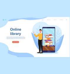 smiling male character is using online library vector image
