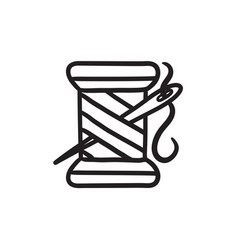 Spool thread and needle sketch icon vector