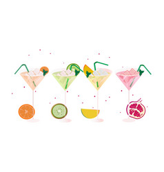 Sruits fresh cocktail glasses set summer drinks vector