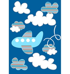 Striped passenger plane flying through the clouds vector image