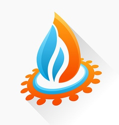 Symbol fire with gear Blue and orange flame glass vector