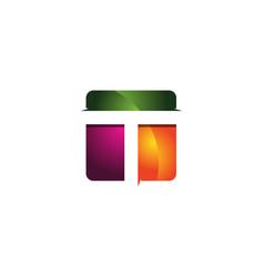t 3d colorful square letter logo icon design vector image