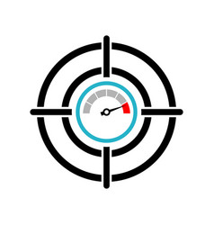 target with speedometer icon isolated on white vector image