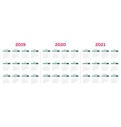 the 2019 2020 2021 calendar template with vector image