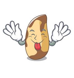Tongue out brazil nut mascot cartoon vector