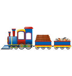 train and two carraige carts vector image