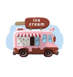Van with ice cream mobile shop vector
