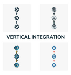 Vertical integration icon set four elements in vector