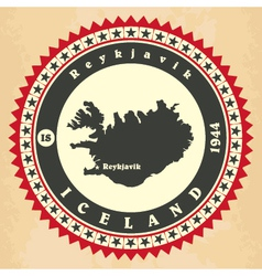 Vintage label-sticker cards of iceland vector