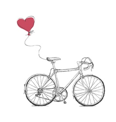 Vintage valentines with bicycle and heart baloon vector