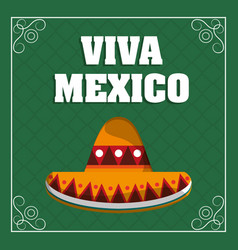 viva mexico - hat traditional green background vector image