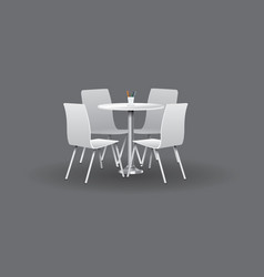 white modern round table with chairs vector image