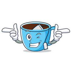 Wink tea cup character cartoon vector