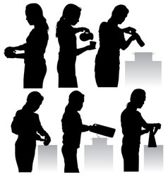 woman in kitchen vector image