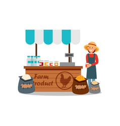 Woman selling different farm products grain fresh vector