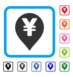 Yen map marker framed icon vector