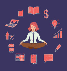 Yoga girl with business icons vector